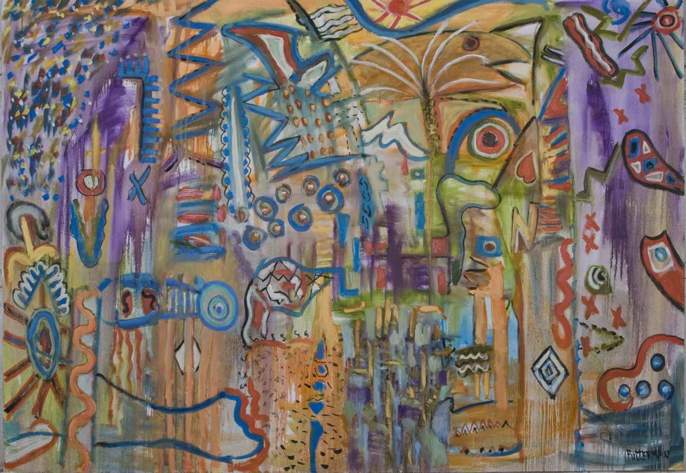 "Interwoven Narrative,   2009, Oil on Canvas, 50"" x 72"""