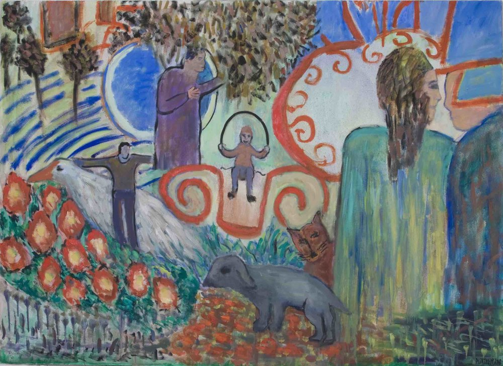 "Family Gathering II,   2009, Oil on Canvas, 48"" x 66"""
