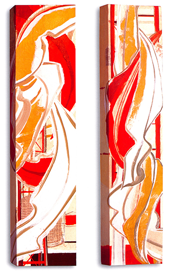 "Gold Leaf IV & V  , 2007, Paper Collage on Canvas, 36"" x 8"" x 3"" each."