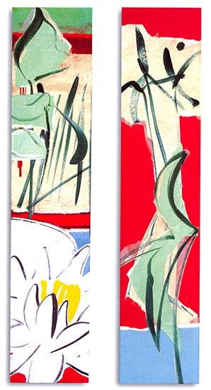 "Suite for the Shallows II & III ,  2007, Paper Collage on Canvas, 24"" x 5"" x 3"" each."
