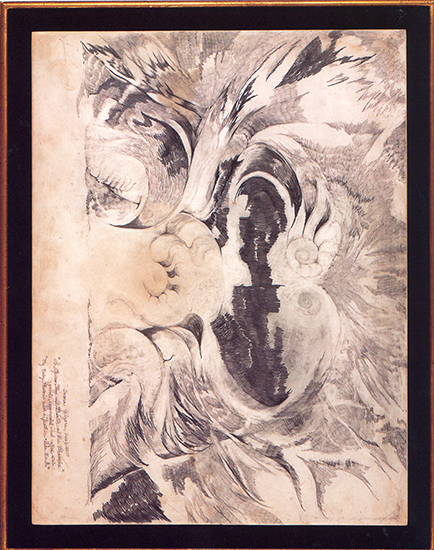 "The Opera Stage And Birth of The Phoenix   (""My Baby Phoenix With A Feather-Like Touch""), Pencil, Copperpoint, Coffee Stain On Prepared Masonite, 20"" x 23"".   - Drawing Turned Around -"