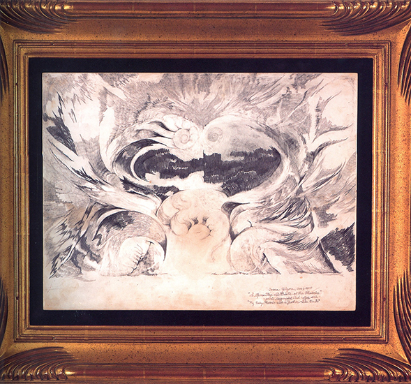 "The Opera Stage And Birth of The Phoenix   (""My Baby Phoenix With A Feather-Like Touch""), Pencil, Copperpoint, Coffee Stain On Prepared Masonite, 20"" x 23""."