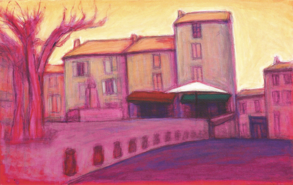 "Café-Gordes, Provence #2    Oil on canvas, 13 1/4"" x 21"", 2008"
