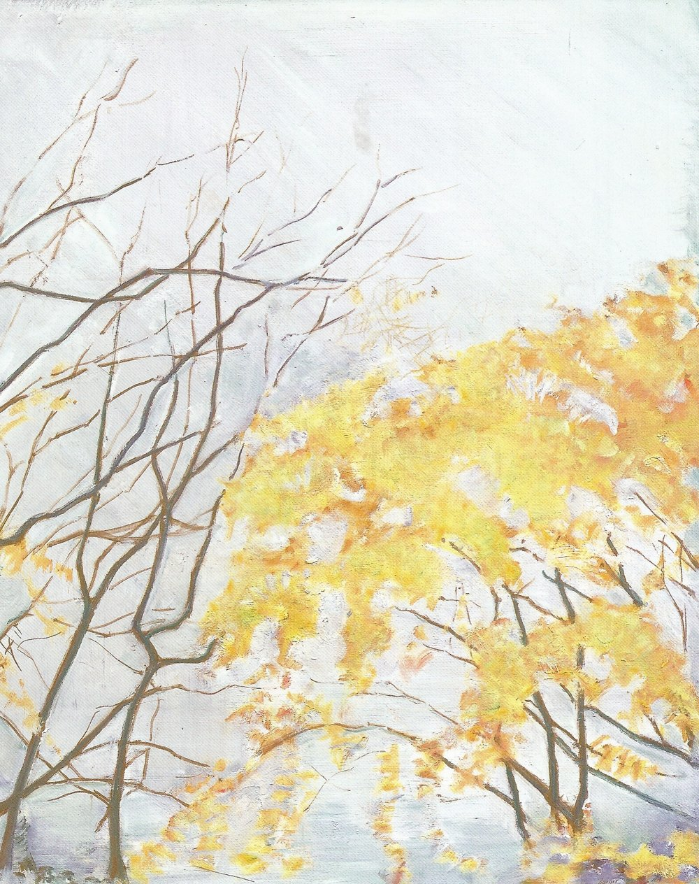 "Yellow Leaves #7  , 2007, Oil on Canvas, 30"" x 24"""