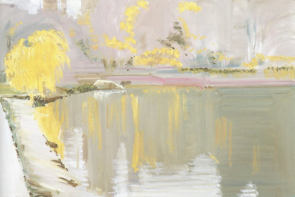 "Yellow Leaves #13  , 2007, Oil on Canvas, 24"" x 36"""