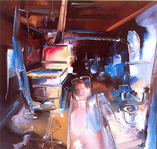 "Partitioned Sugar Evaporator    Oil on Mi-Tientes, 31"" x 32"", 2007"