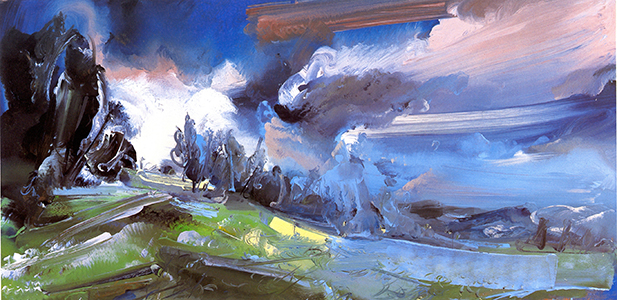 "Cromack Clouds Rethundering    Oil on gatorboard, 35"" x 70"", 2007"
