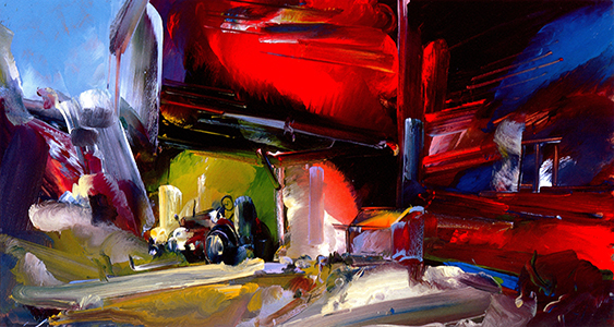 "Red Access    Oil on gatorboard, 26"" x 48"", 2006"