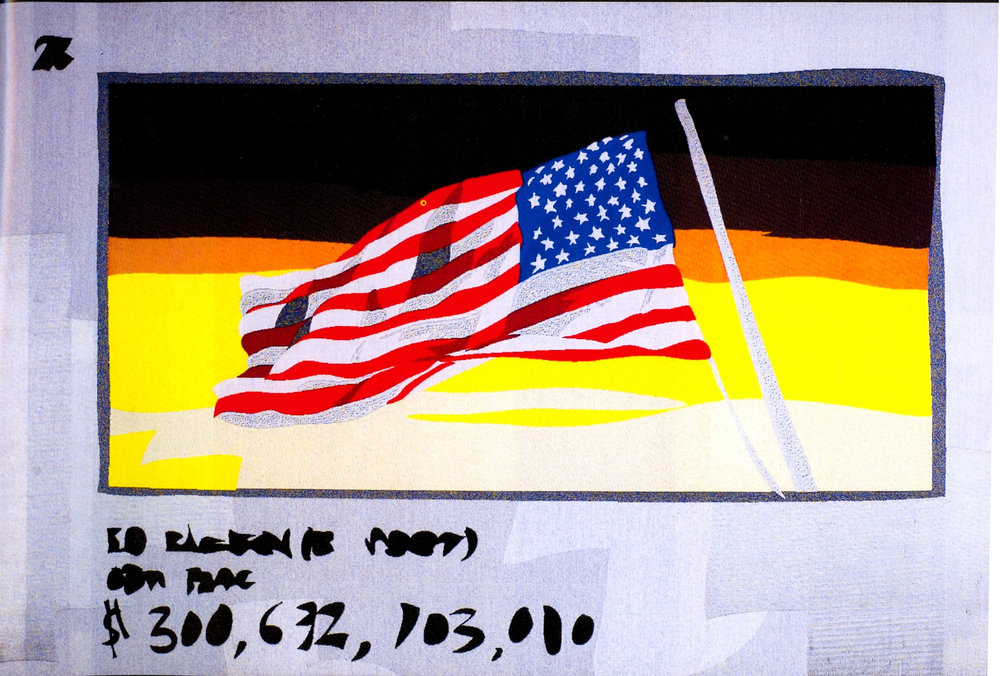 "Flag at Auction  , Embroidery, 39"" x 61""."