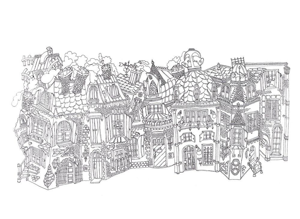 "Plaza Via Assunta    Ink on Paper, 18""x30"", 2002"