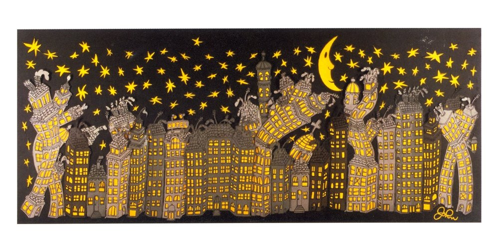 """Skyline    Paper Cut Outs, 18""""x30"""", 2002"""