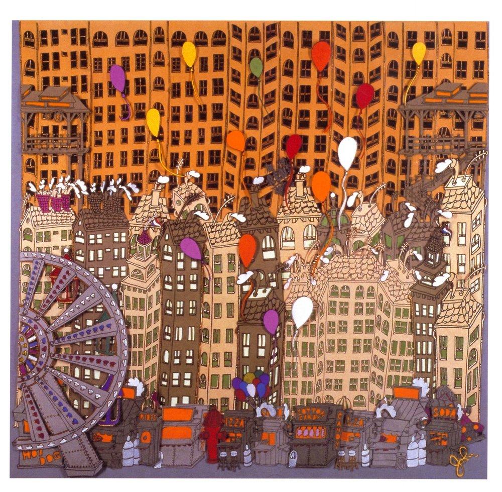 """Street Fair    Paper Cut Outs, 30""""x30"""", 2002"""