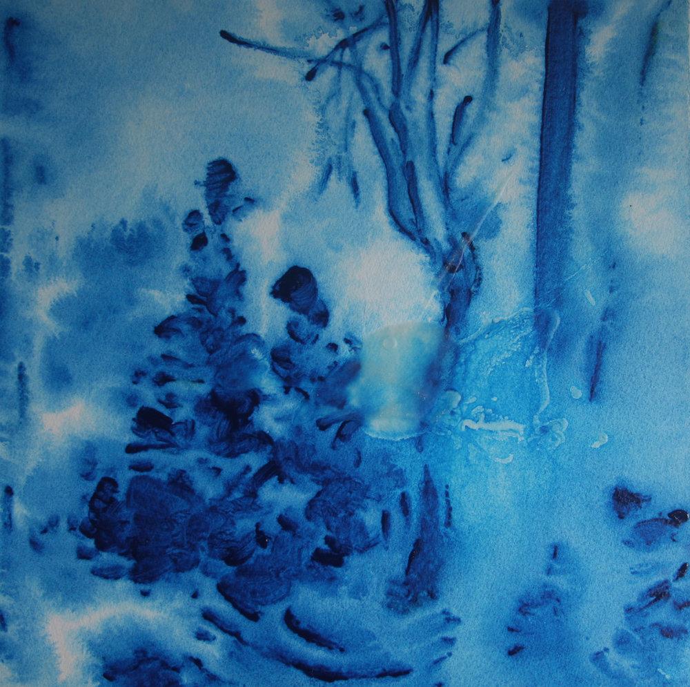 "Yu Zhang,   Landscape,   2017, Acrylic on Paper, 11"" x 11"""