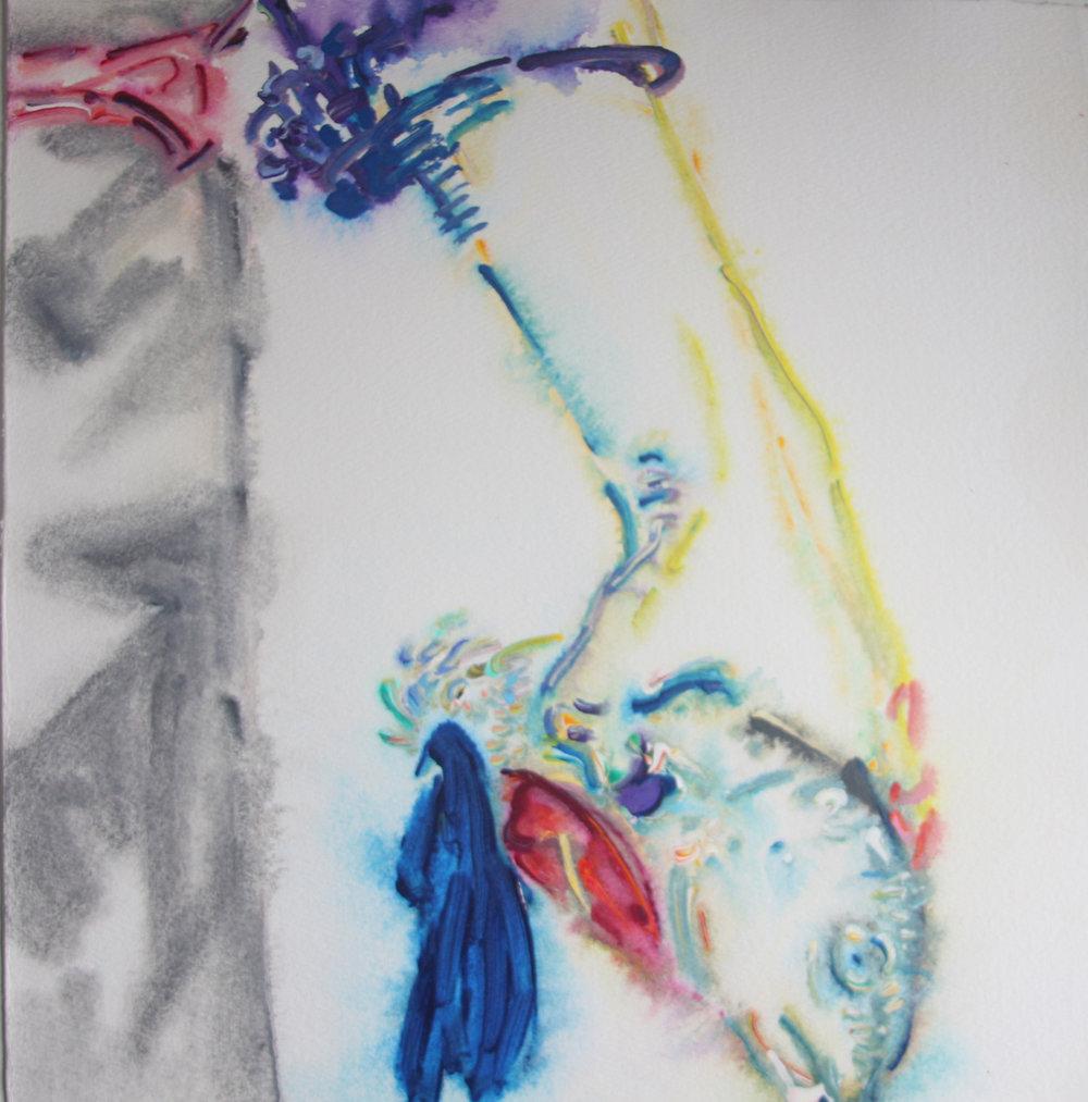 """Yu Zhang,   Fisherman,   2017, Acrylic on Paper, 11"""" x 11"""""""