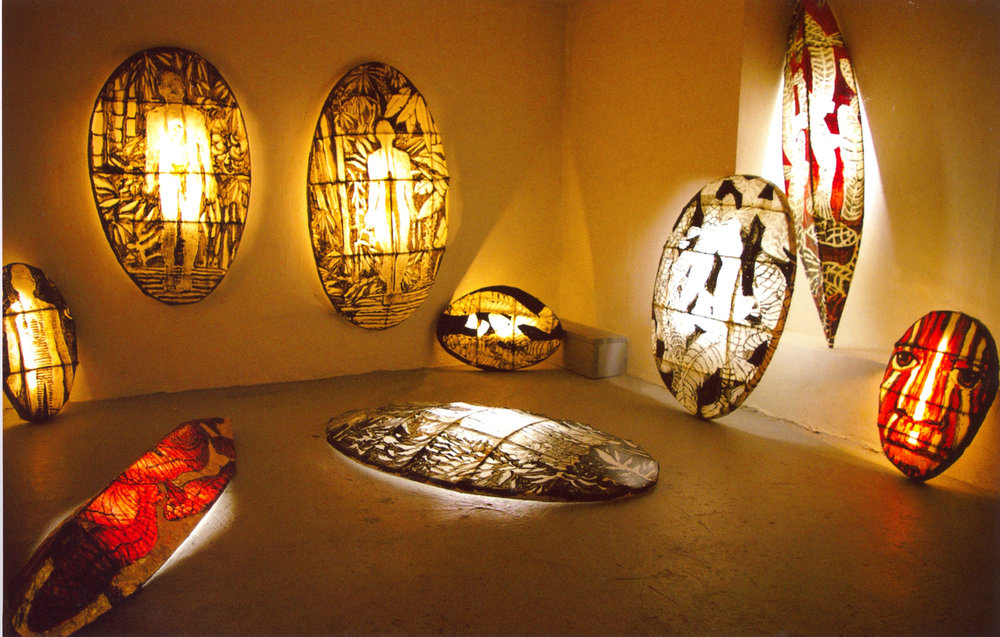 Installation view of 3D lighted woodcut print collages, 2006