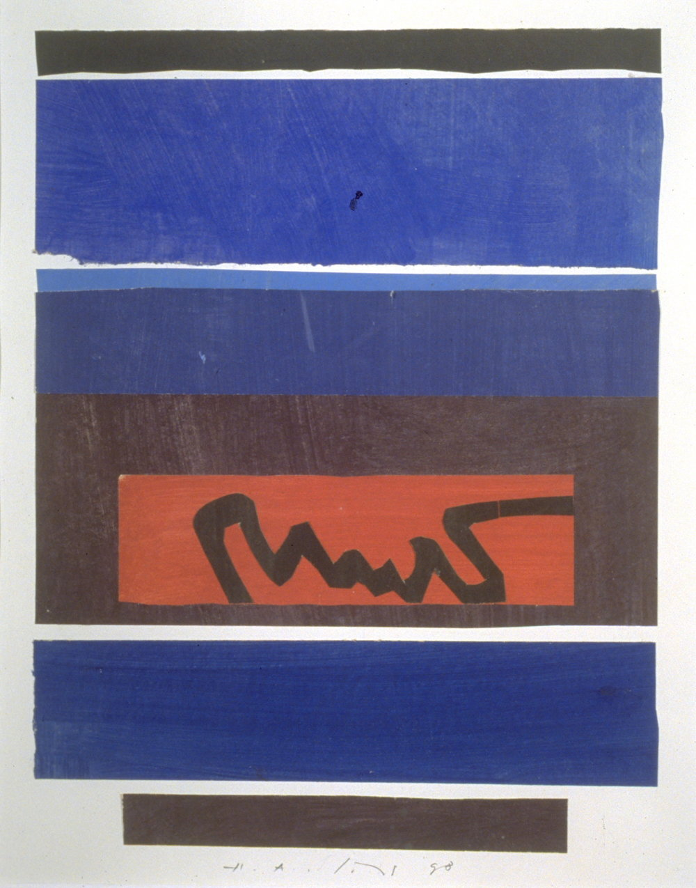 "Hermann Alfred Sigg,   Untitled 6,   Acrylic Ink and Collage on Paper, 2002, 20"" x 16"""