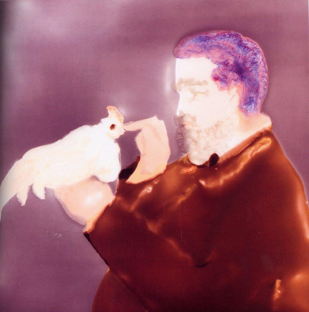 "Un Coq Hypnotise    Resin on wood, 40""x40"", 2003"