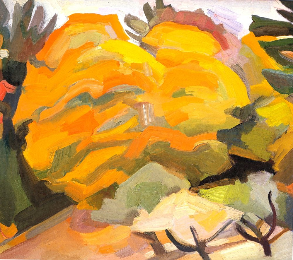 "Autumn Maples I    oil on canvas, 16""x18"", 2004"