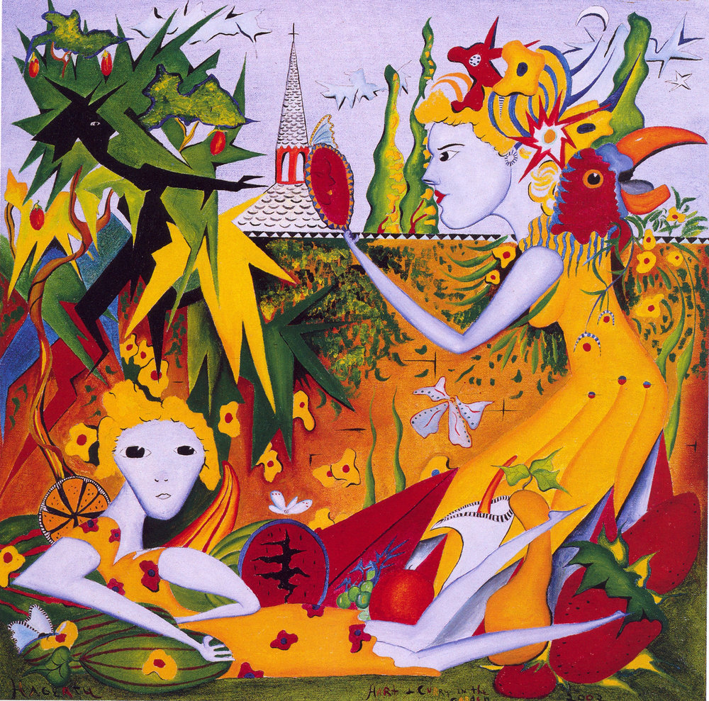 Richard C. Hagerty,   Daughters in the Garden,   2002, Oil on Canvas, 2' x 2'