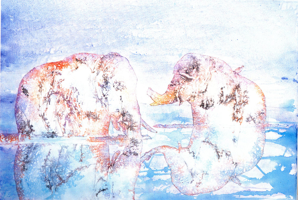 """Shi-Ling Hsiang,   Rendezvous - in Chobe River I,   2003, Acrylic on Canvas, 32"""" x 46"""""""
