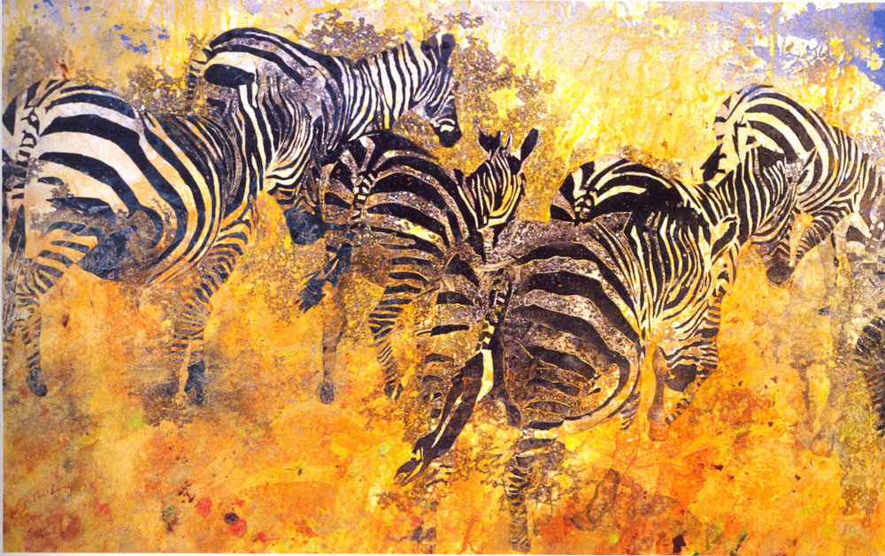 """Shi-Ling Hsiang,   Migration,   2002, Acrylic on Canvas, 36"""" x 57"""""""