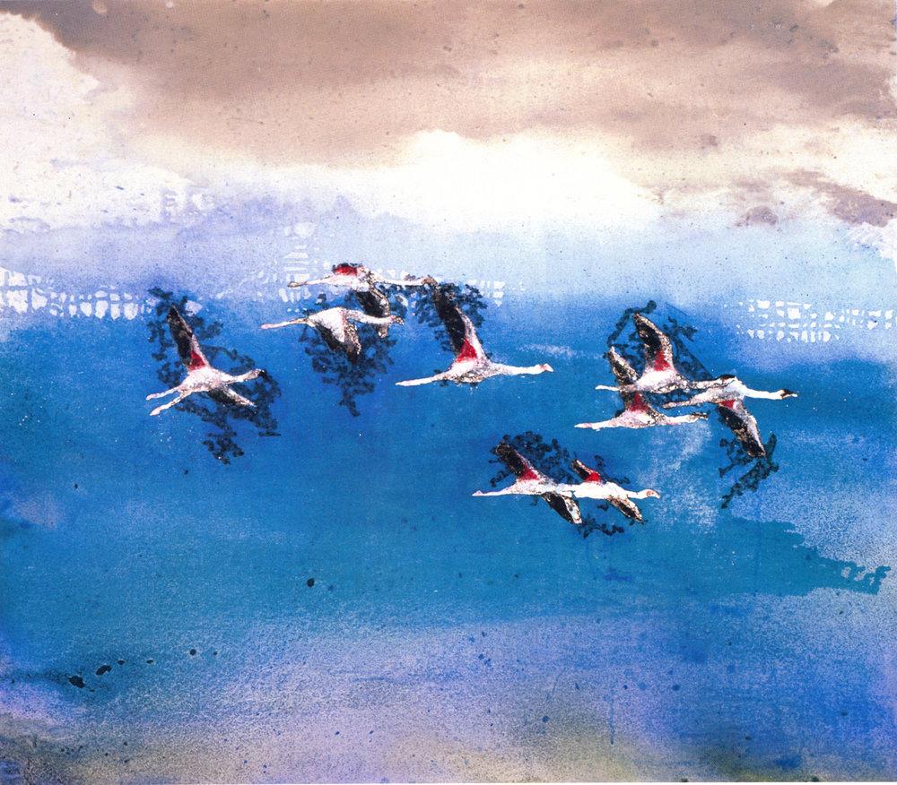 """Shi-Ling Hsiang,   Above Ngorongoro,  2002, Acrylic on Canvas, 42"""" x 48"""""""