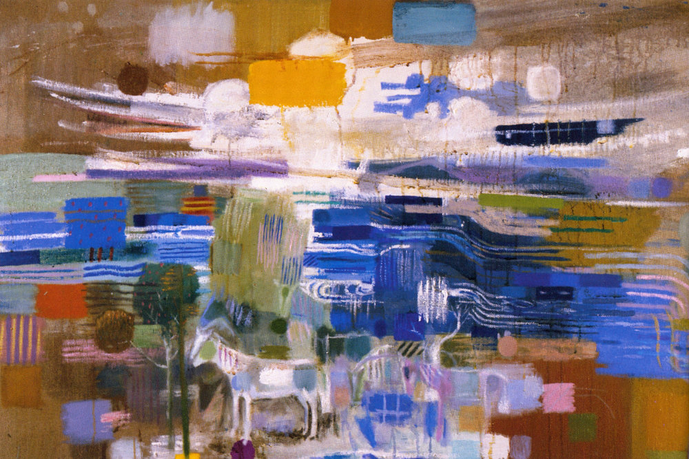 "Mark Kurdziel,  Horses and Trout Stream#2,  2003, Oil on Canvas, 52"" x 34"""