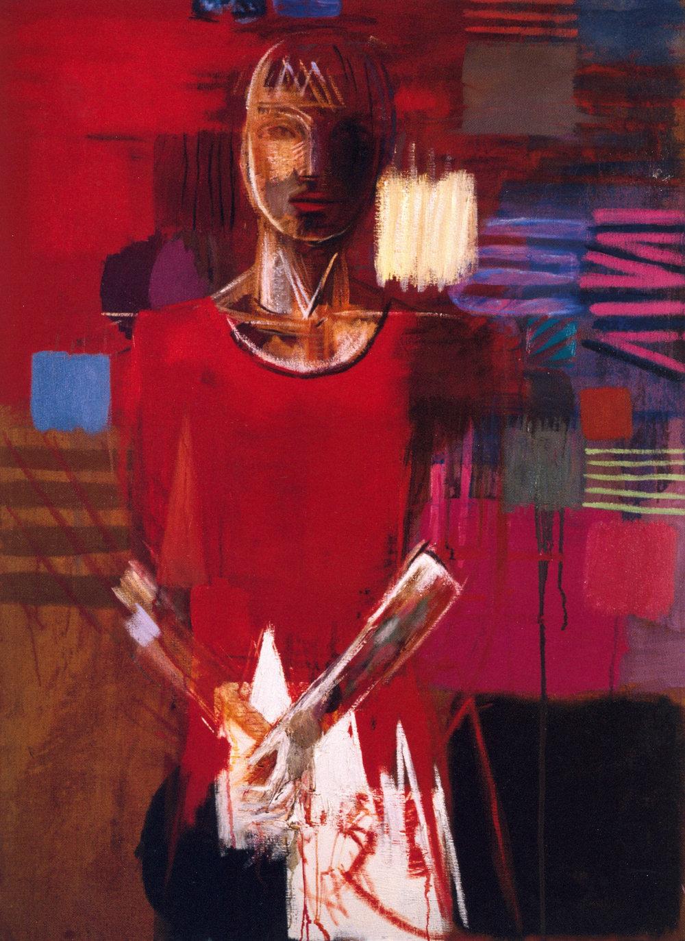 """Mark Kurdziel,  Woman in Florence,  2002, Oil on Canvas, 36"""" x 48"""""""