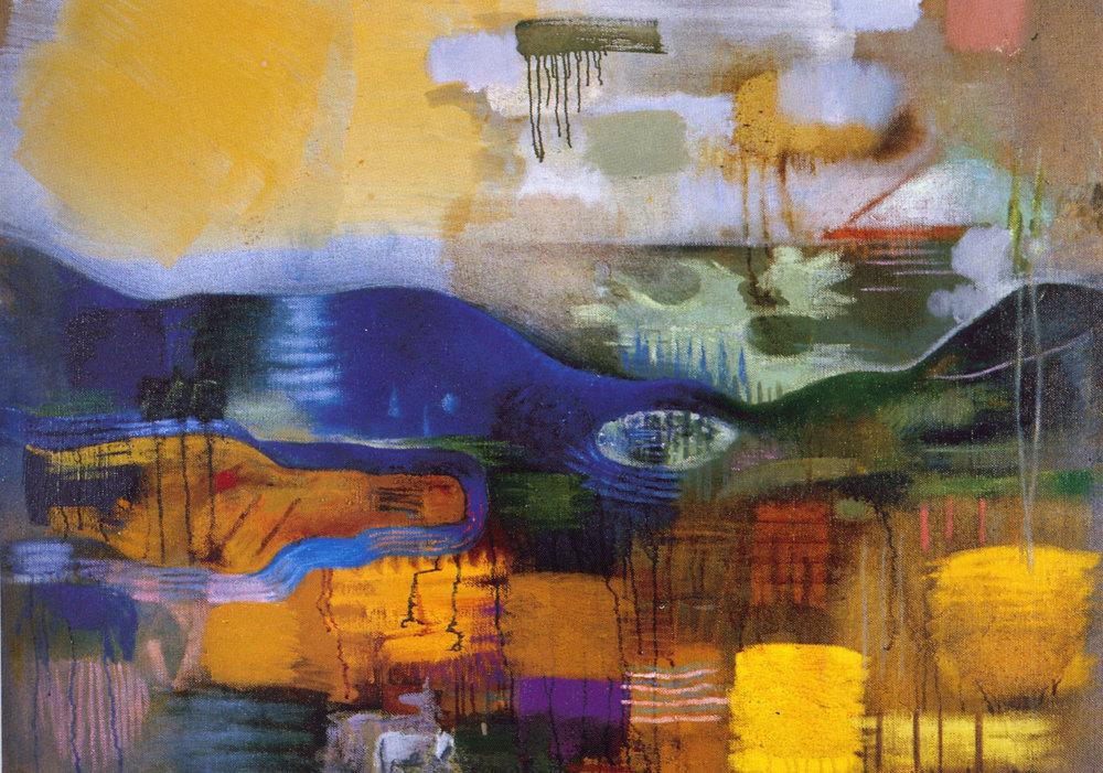 """Mark Kurdziel,  Animals in Landscape,  2002, Oil on Canvas, 50"""" x 36"""""""