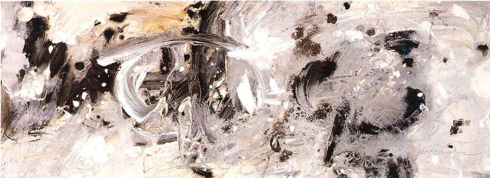 "Barbara Bartholomew,  ""Eight Sacred Caves"" Series    Causing Wind and Rain,   2002, Mixed Media on Paper, 11"" x 30"""