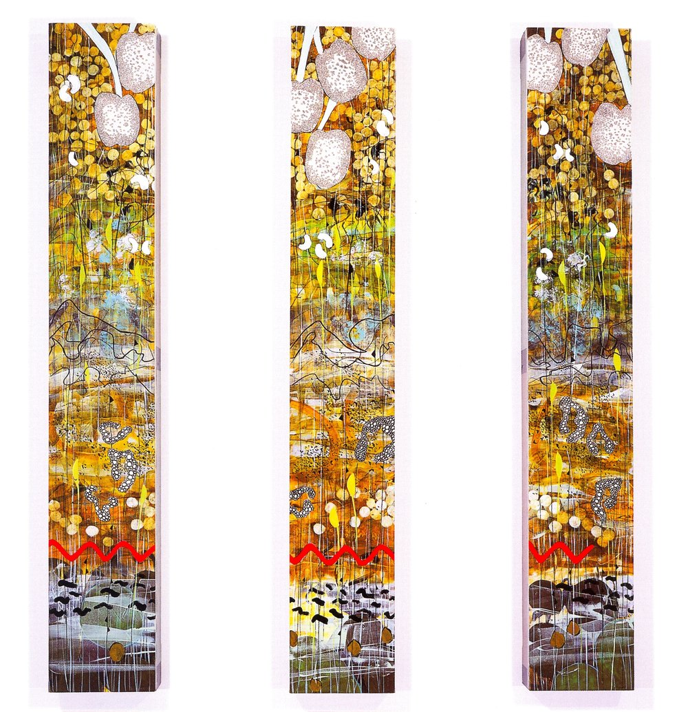 "Betsy Stewart,   Pond Totem Triptych #2,   2001, Acrylic and Sumi Ink on canvas, 59"" x 9"" x 3 1/2"" (Each Panel)"