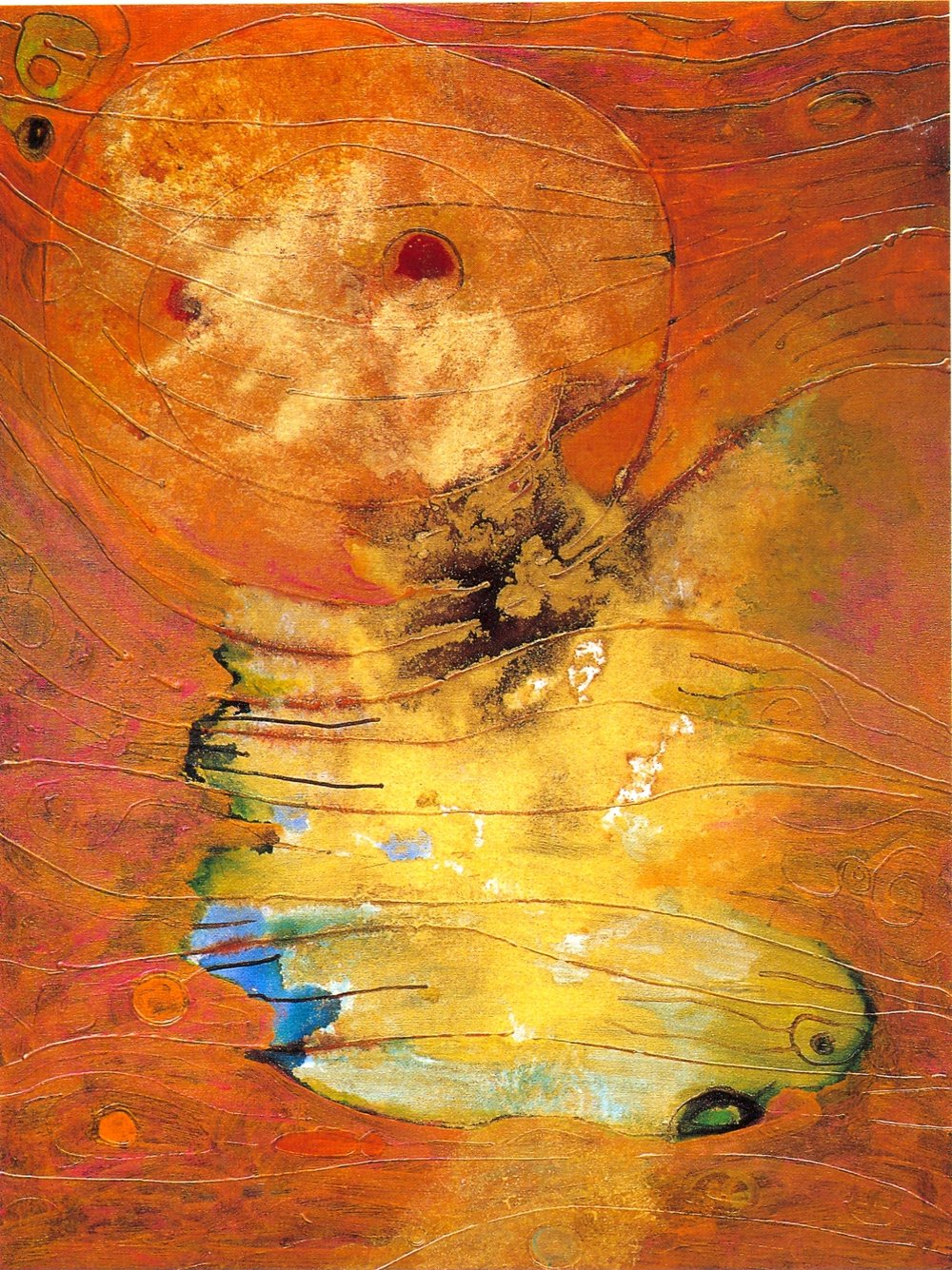 "Fran Bull,   Shekhinah,   2002, Acrylic & Mixed Media on Canvas, 48 1/4"" x 36"""