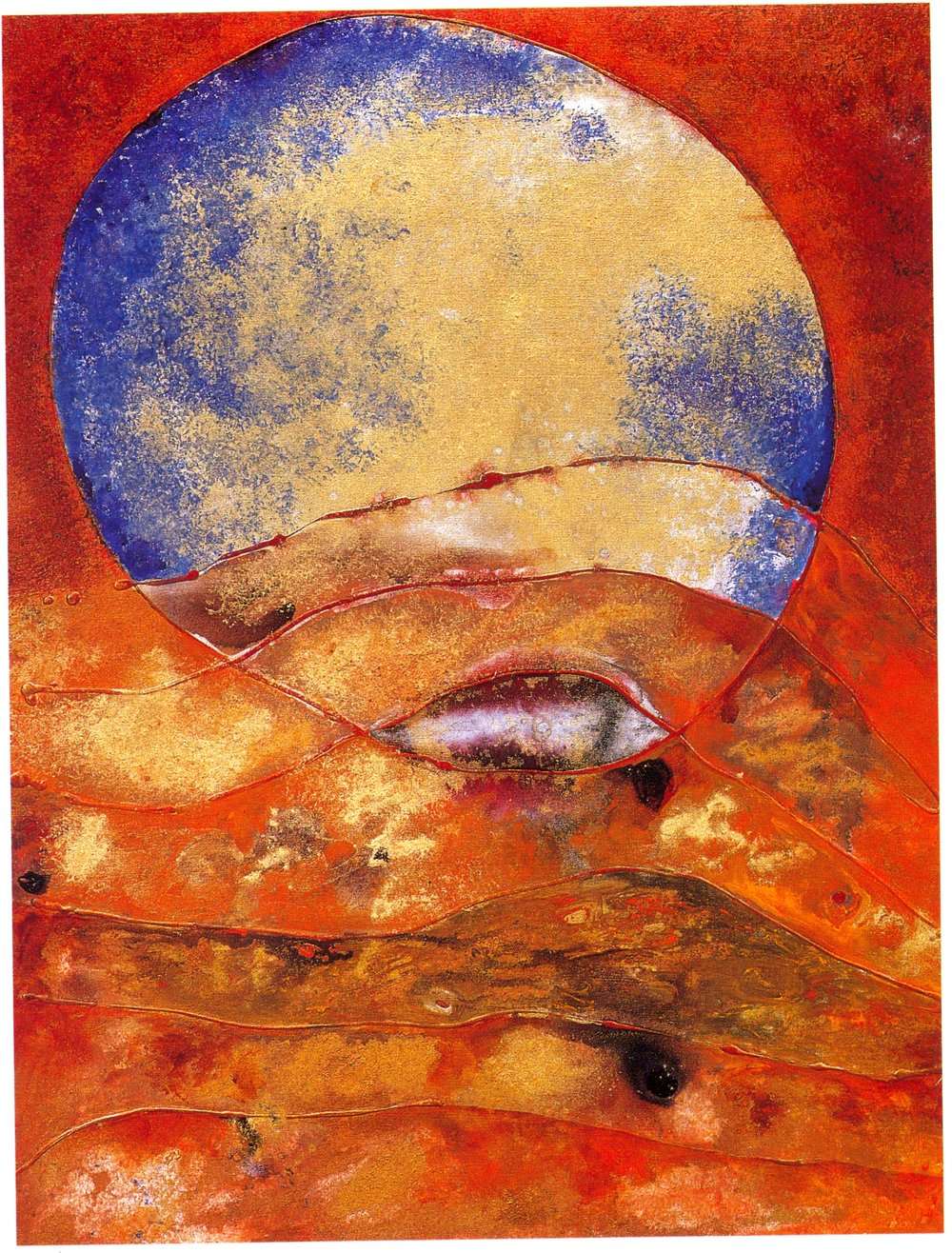 "Fran Bull,   Untune the Sky,   2002, Acrylic & Mixed Media on Canvas, 48 1/4"" x 36"""