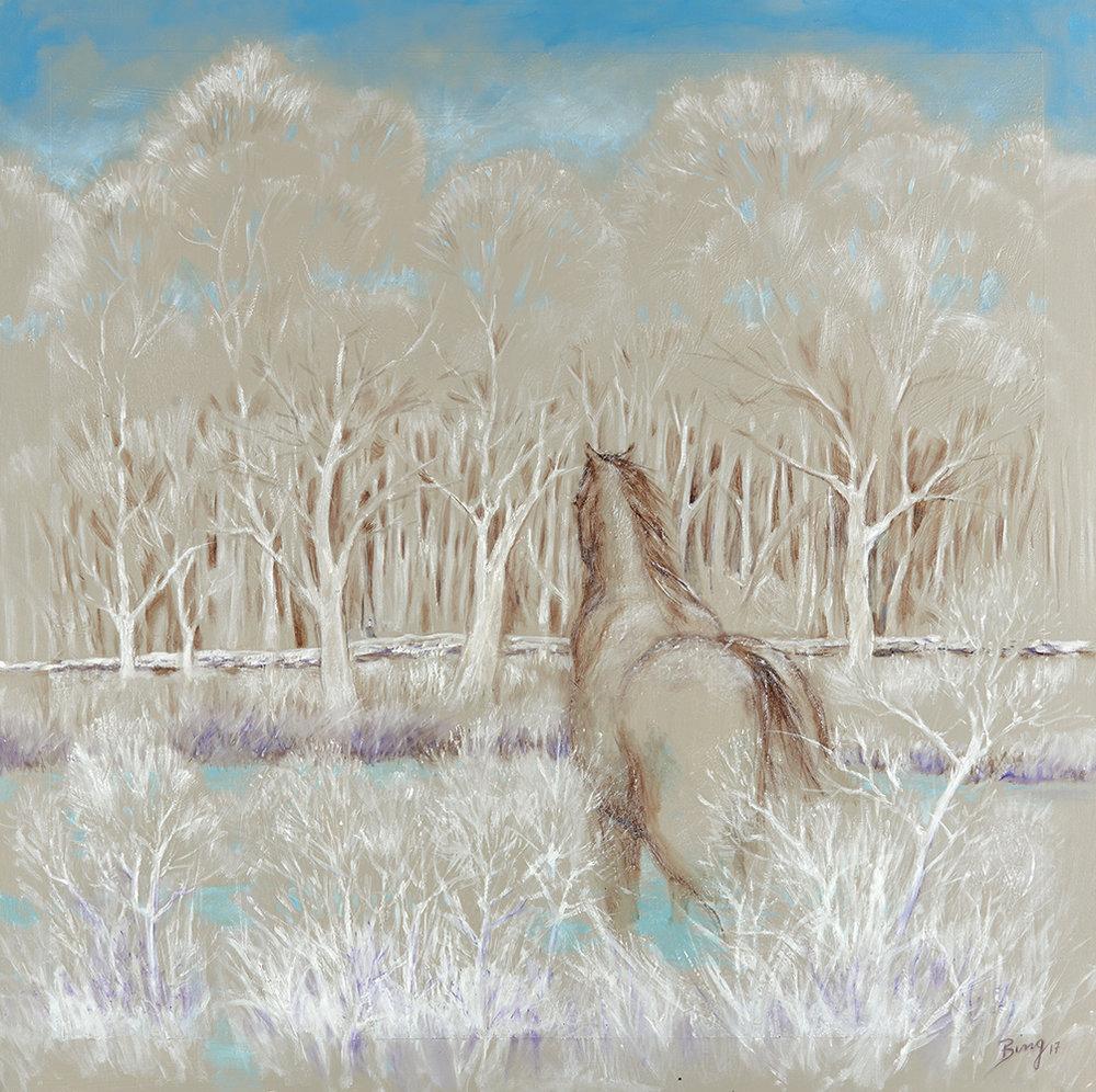 "Marian Bingham Longing/Winter, 2017, Oil on Canvas, 36"" x 36"""