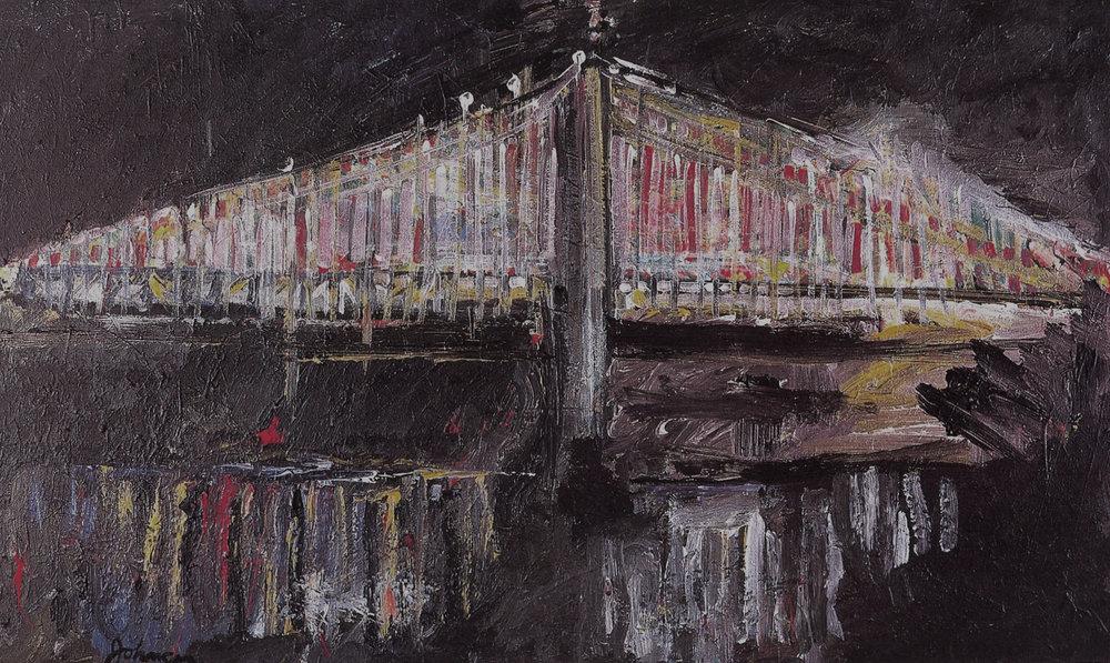 "Annsbridge,   2002, Acrylic on canvas, 36"" x 60"""