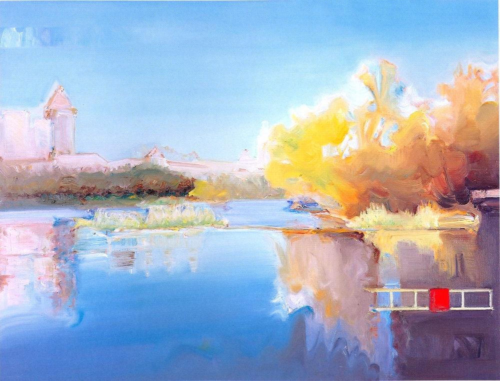 """Central Park - Autumn 2,   2002, Oil on canvas, 30"""" x 40"""""""