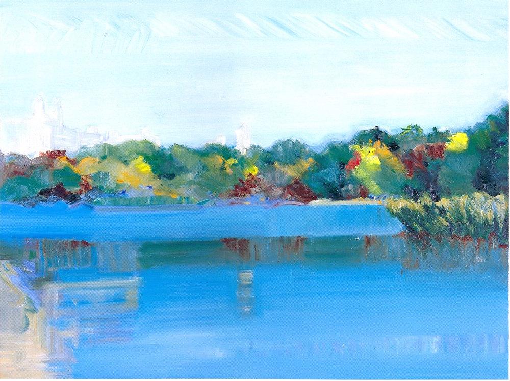 """Central Park - Autumn 6,   2002, Oil on canvas, 36"""" x 48"""""""