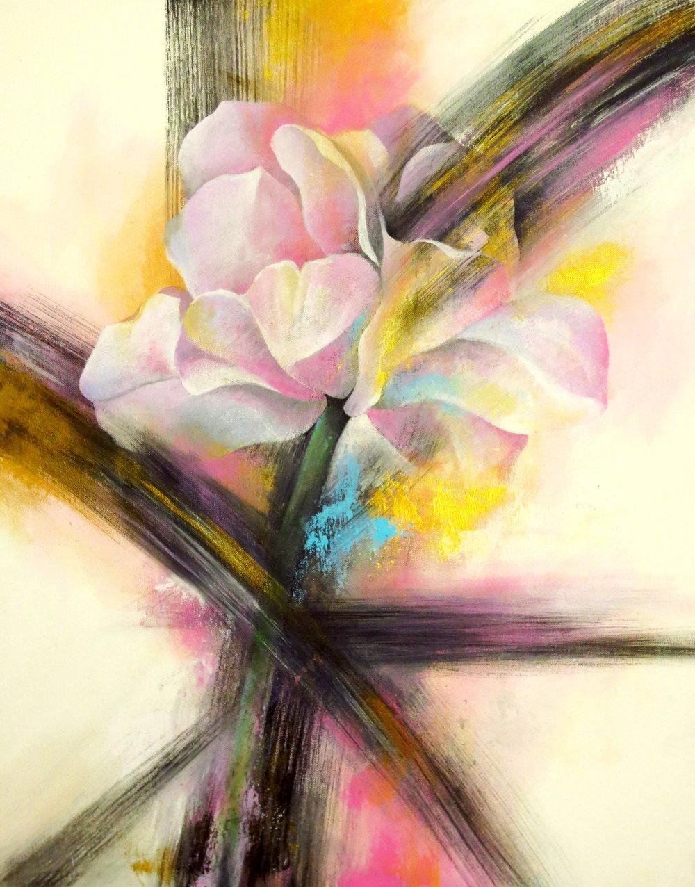 "Mathew Kou,   Be Alive,   2017, Acrylic and Sumi- Ink on canvas, 22"" x 28"""