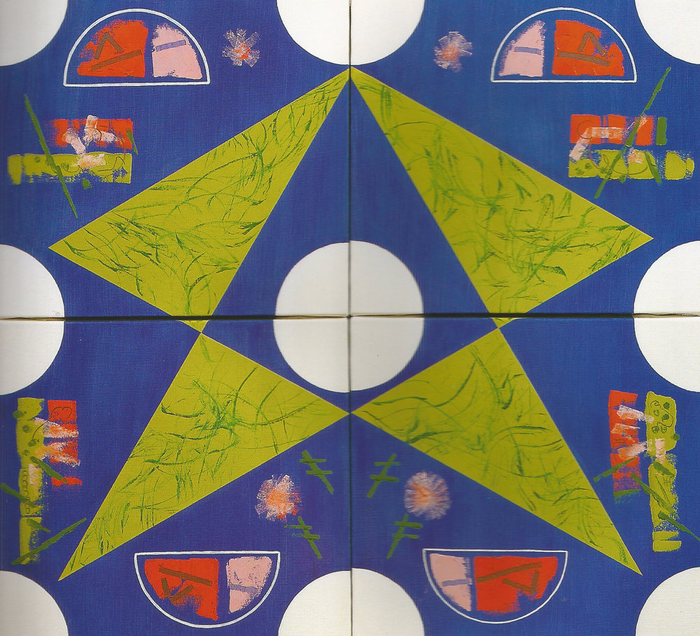 """Four Pieces with Triangle,   2002, Oil on canvas, 36"""" x 40"""""""