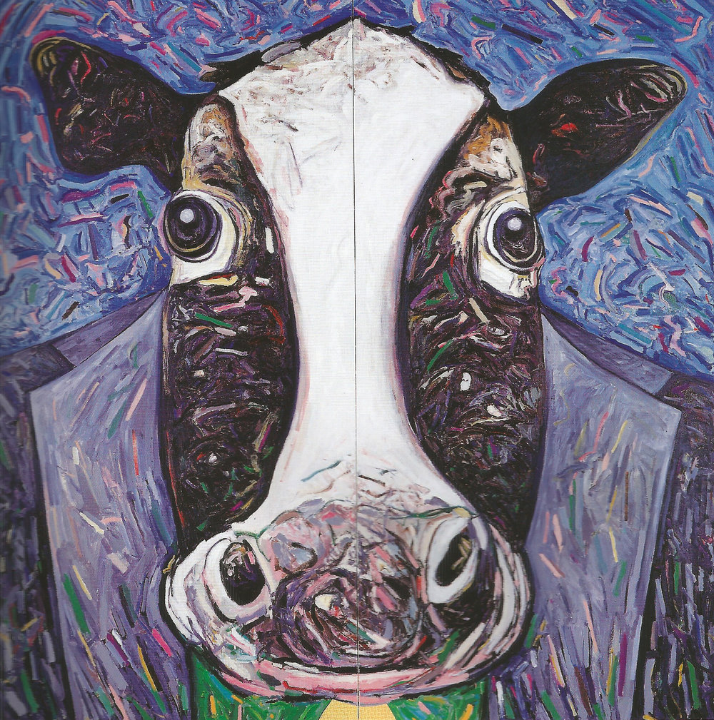 "Mad Cow Woman,   2002, Oil, Collage, Enamel, 96"" x 96"""