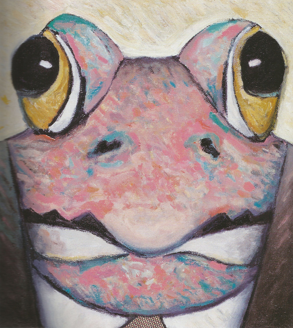 "Frog Man,   1999, Oil, Collage, Enamel, 11"" x 13"""