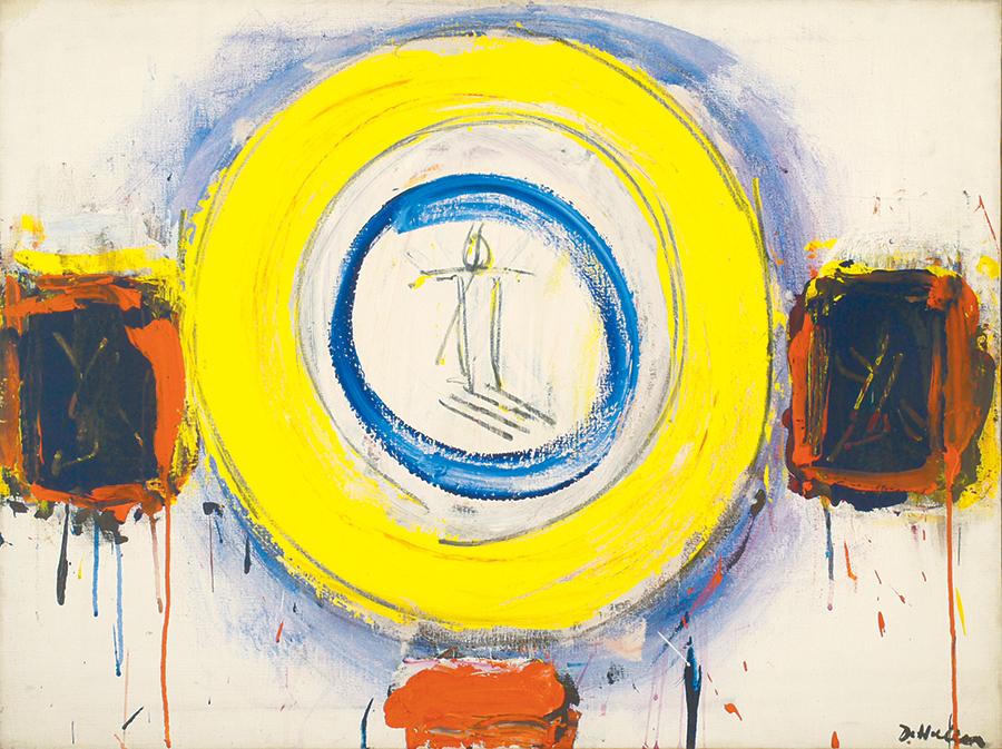 """Dorothy Heller  Mandala II, Acrylic on Linen,1966, 38""""x28"""""""