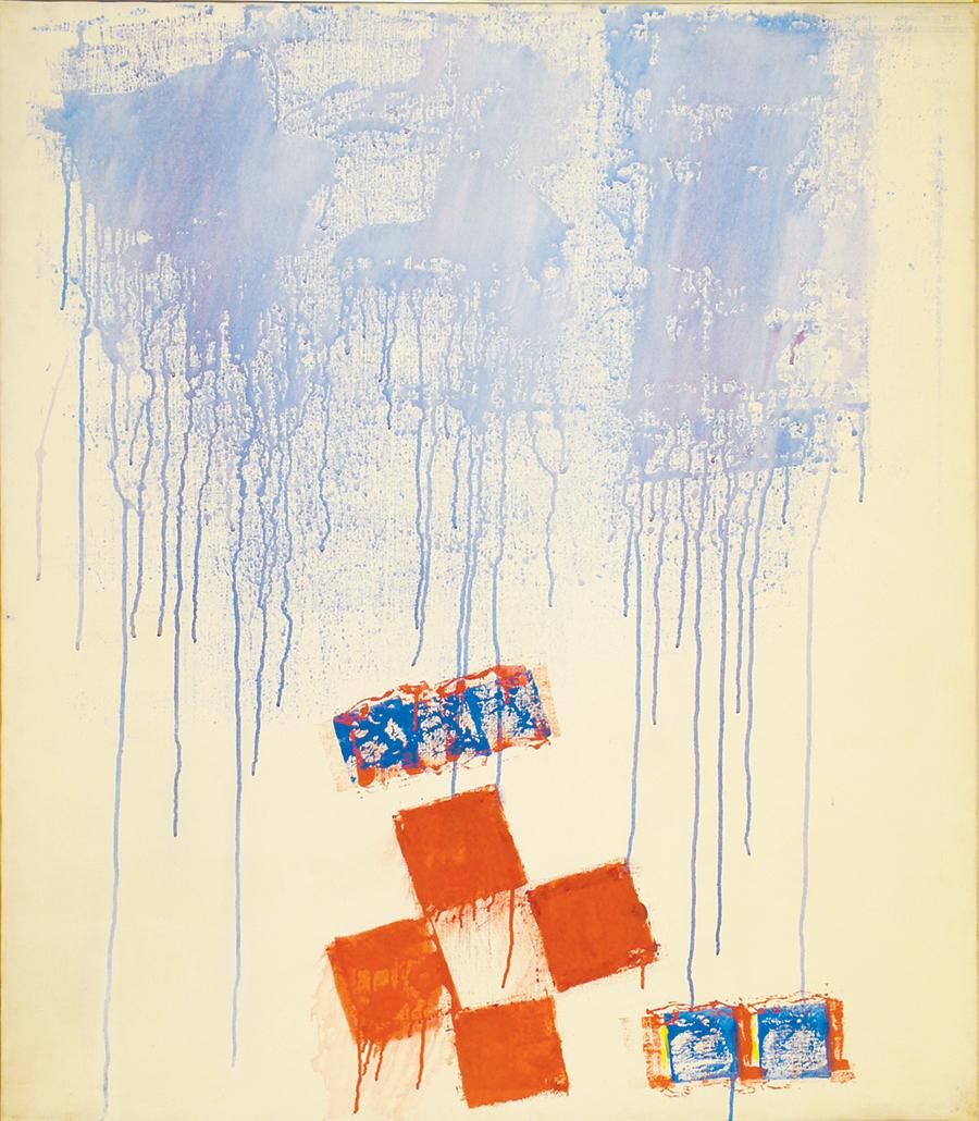 """Dorothy Heller  Fire on Earth(Triptych), Acrylic on Linen,1975, 40""""x 46"""""""