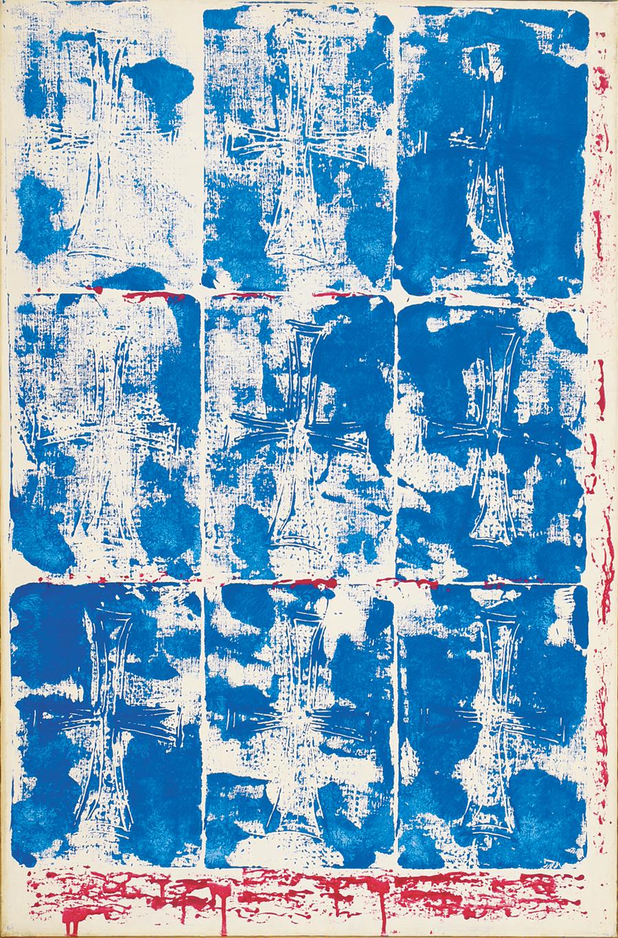 "Dorothy Heller  New Crosses I, Acrylic on Linen, 1975, 26""x40"""