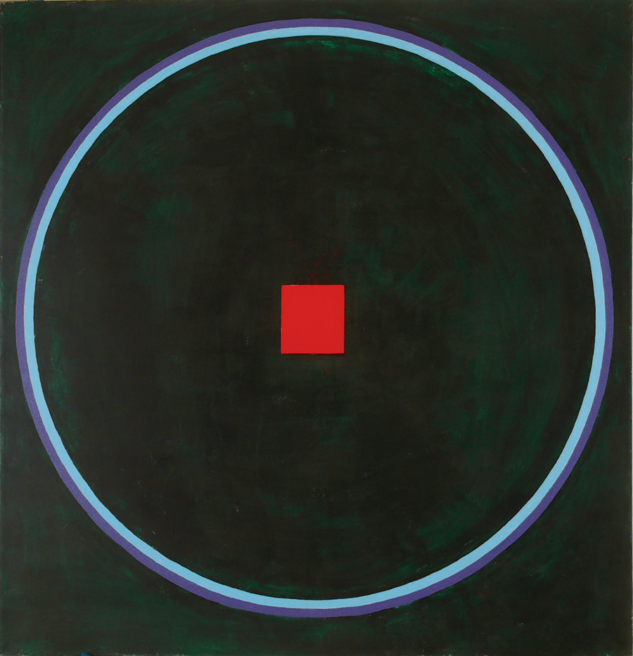 "Dorothy Heller  Magic Circle IV Red Square,  Acrylic on  Linen, 1988, 16"" x 17"""