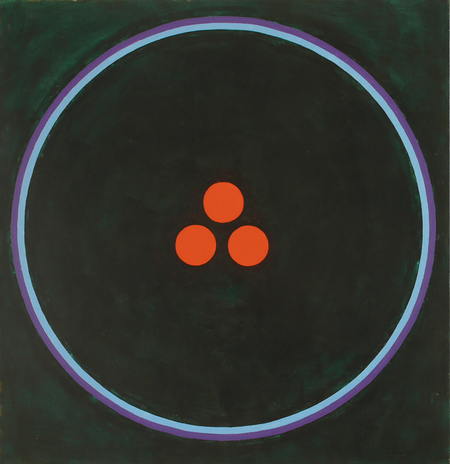 "Magic Circle IV (3 Red Dots),  Acrylic on  Linen, 1989, 52"" x 54"""
