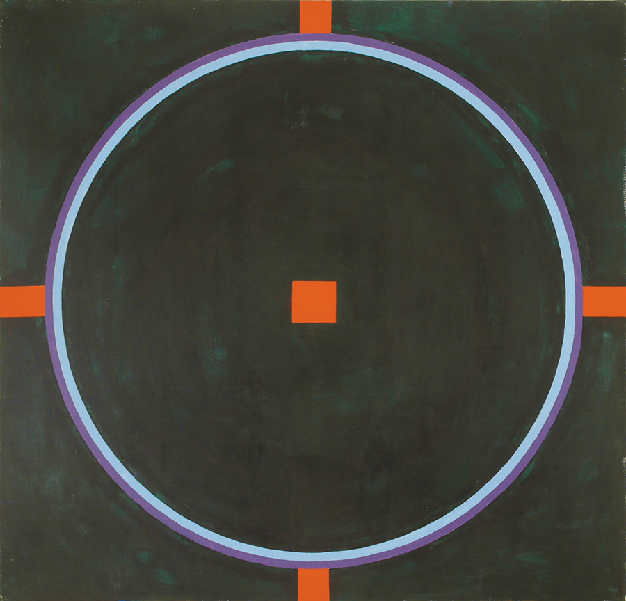 "Magic Circle V (Outer Cross w Red Sq),  Acrylic on Linen, 1989, 52"" x 54"""