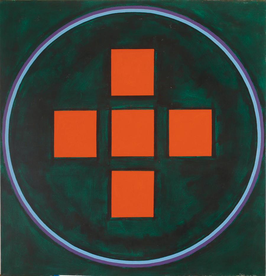"Magic Circle VI (Inter Cross of Red Sq), Acrylic on Linen, 1989, 52"" x 54"""