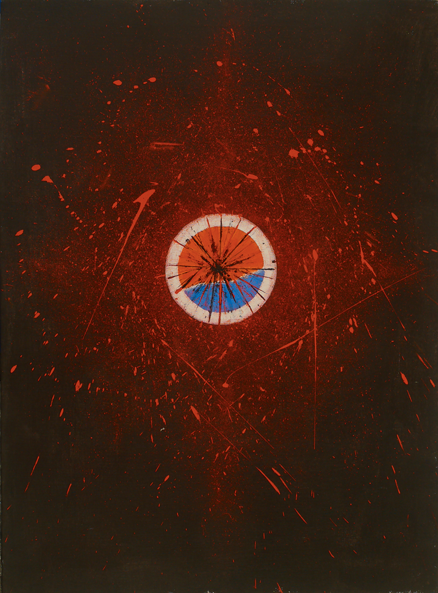 "The Fiery Source I,  Acrylic on Linen, 1987, 25"" x 34"""