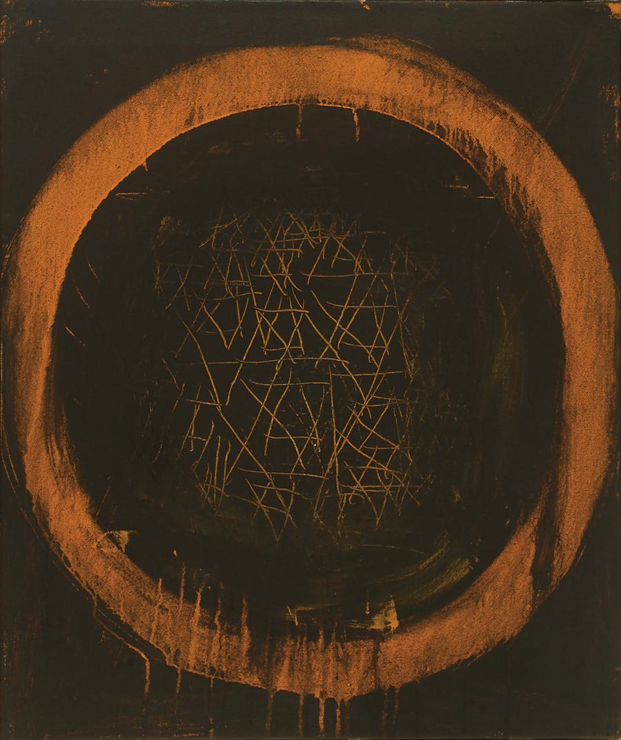 "Seal of Solomon,  Acrylic on Linen, 1 969, 21"" x 25"""